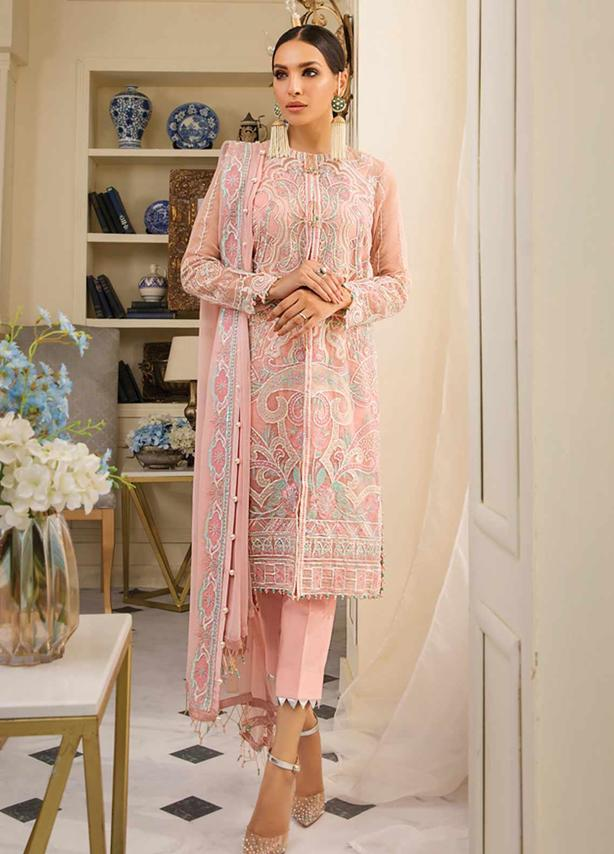 Embroidered Organza Suit (3 Piece)