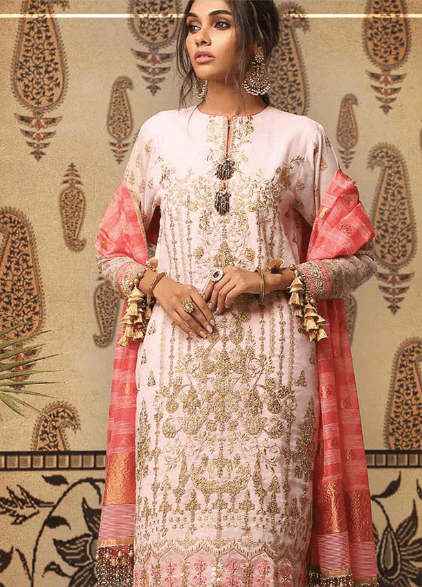 Embroidered Cotton Net Suit (3 Piece)