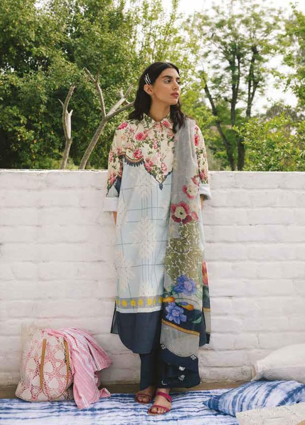 Cream & Blue Embroidered Lawn Suit (3 Piece)