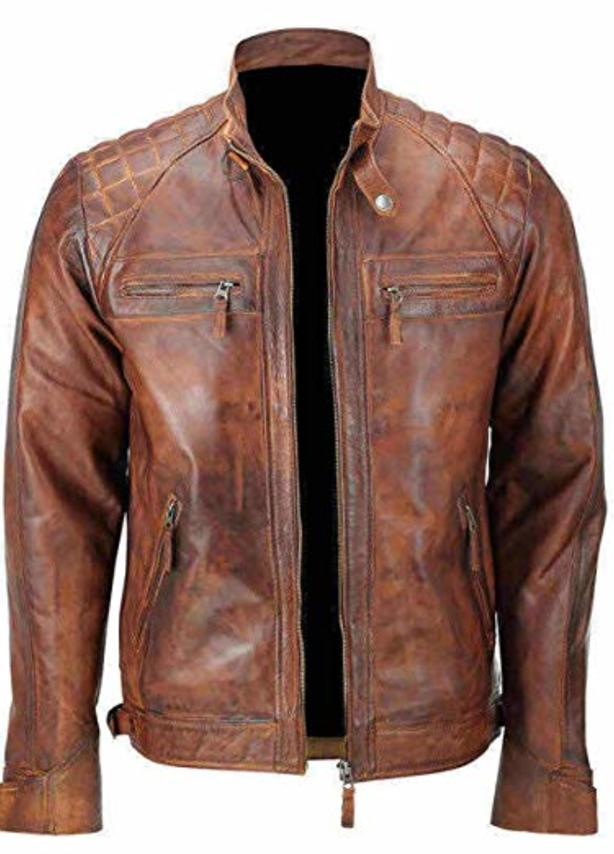 Diamond Classic Waxed Brown Leather Jacket