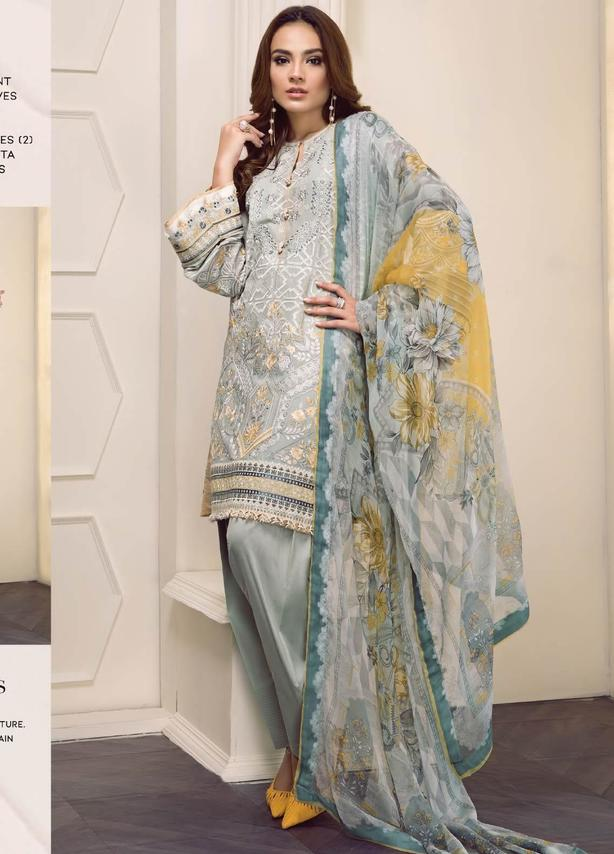 Dusty Blue Embroidered Lawn Suit (3 Piece)