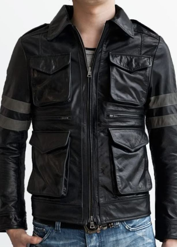 Four Pocket Rider Black Leather Jacket
