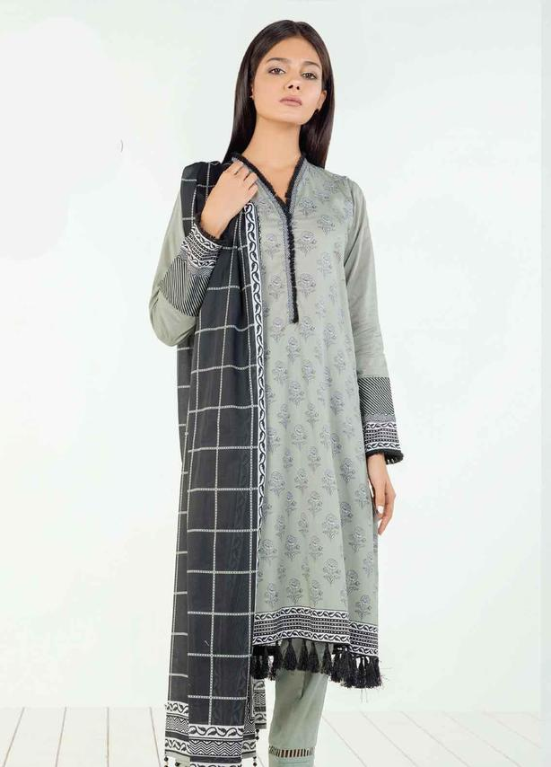 Gray Embroidered Lawn Suit (3 Piece)