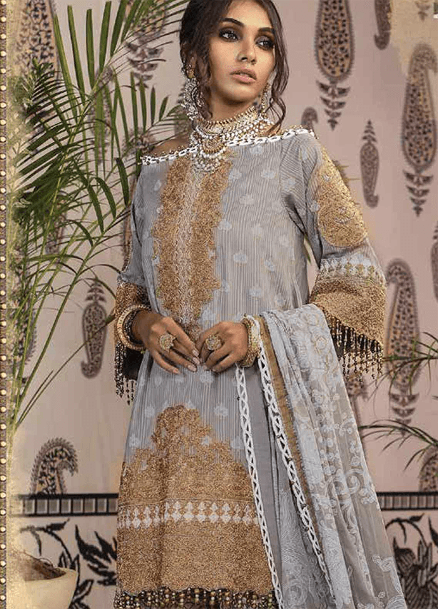 Mauve with Brown Embroidered Broschia Suit (2 Piece)