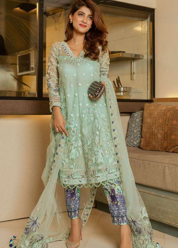 Embroidered Zari Net Suit (3 Piece)