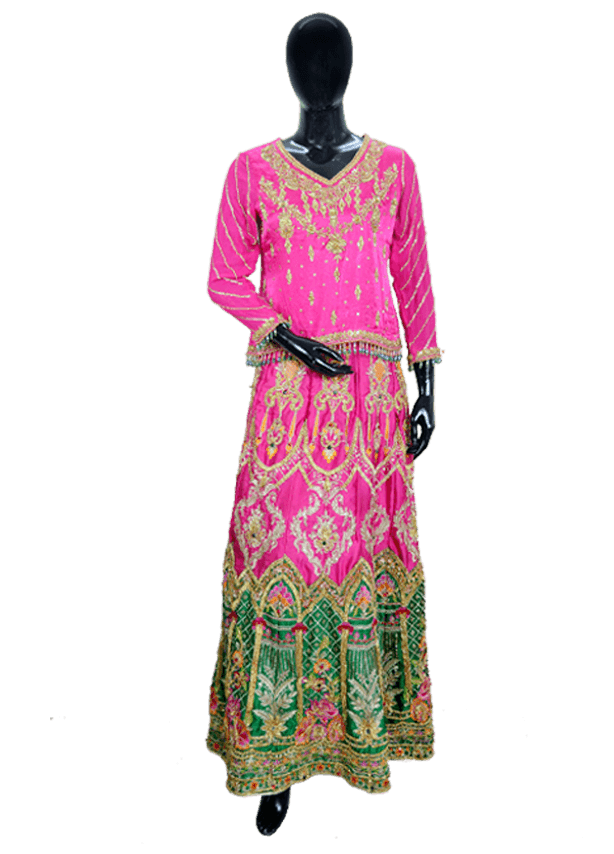 Panelled Sharara with Short Choli