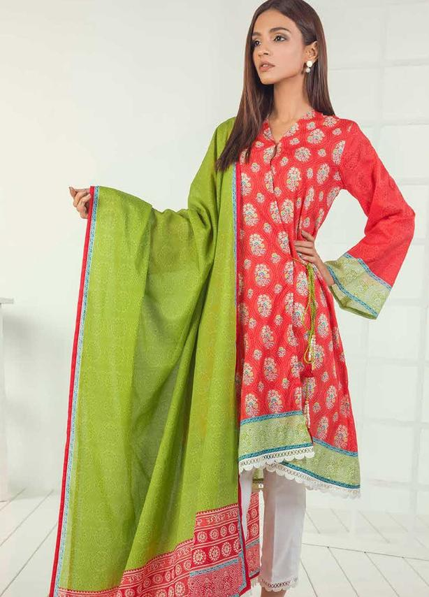 Red Embroidered Lawn Suit (3 Piece)