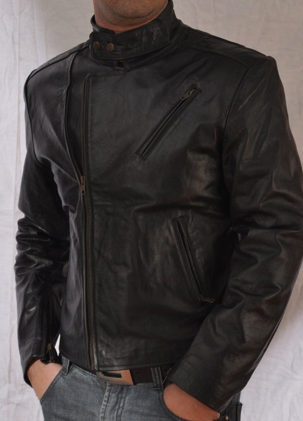 Short Body Black Sheepskin Leather Jacket
