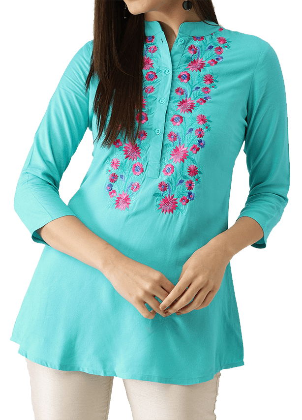 Short Kurti with Mandarin Collar