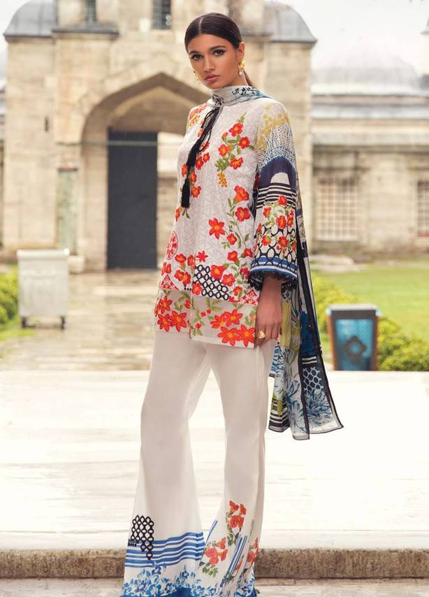 White Embroidered Jacquard Suit (3 Piece)