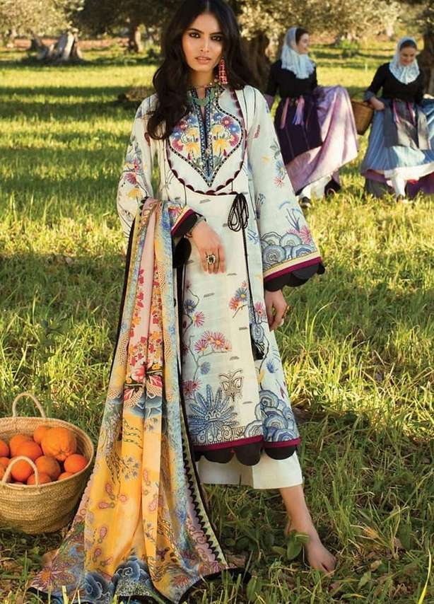 White with Multi-colored Accents Embroidered Lawn Suit (3 Piece)