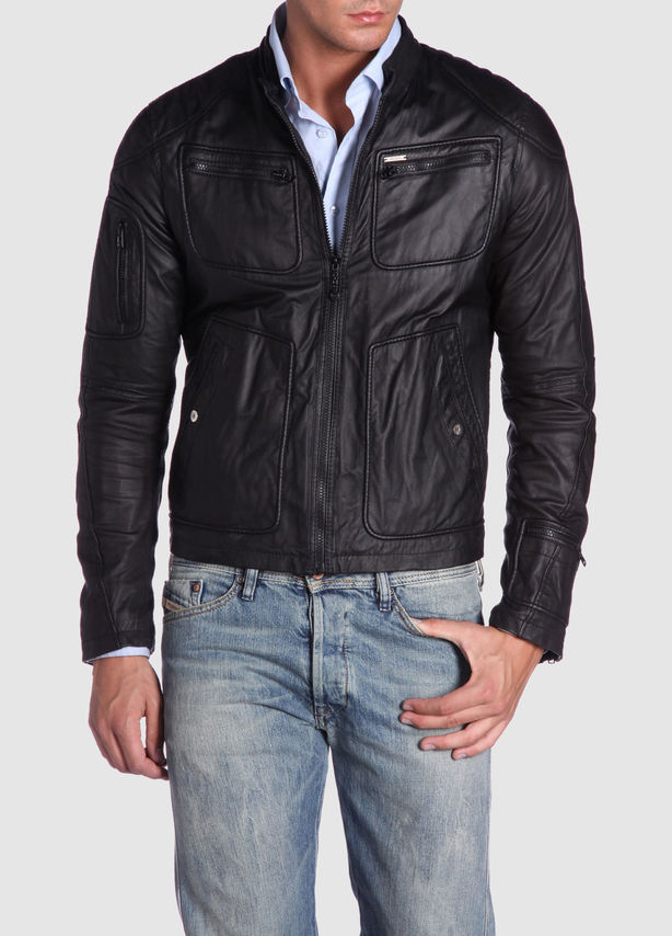 Wrinkled Black Sheepskin Leather Jacket